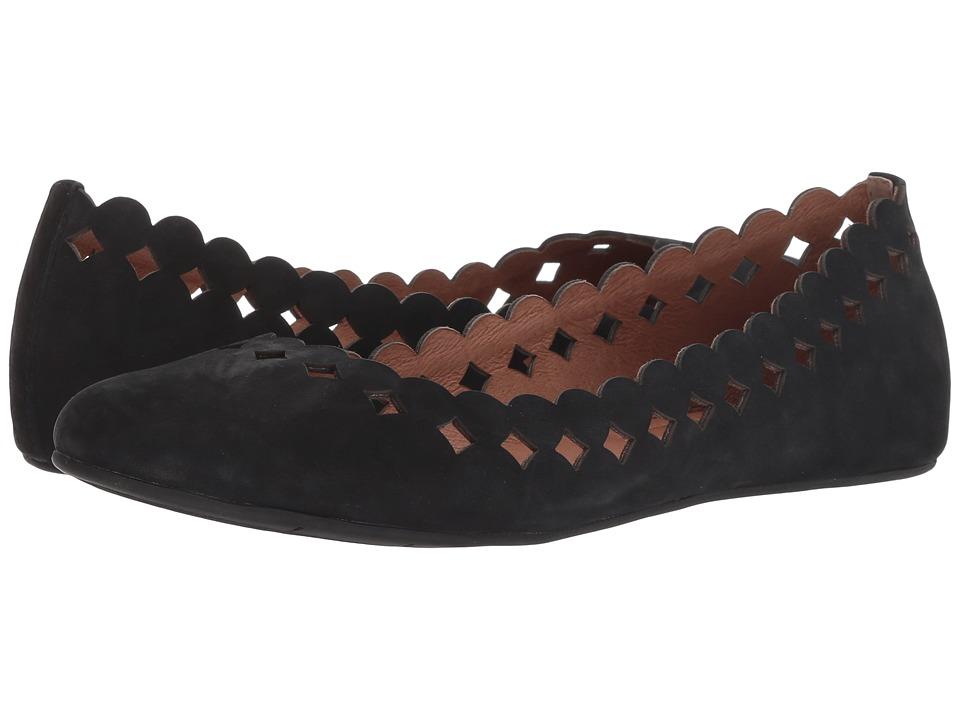 Sudini Simmi (Black Kid Suede) Women's Dress Flat Shoes