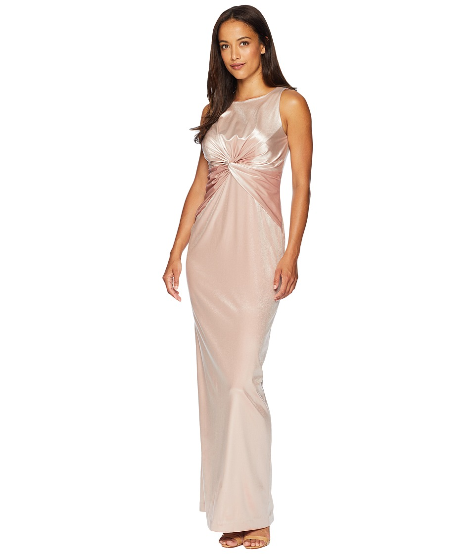 Vintage Evening Dresses and Formal Evening Gowns Adrianna Papell Twist Front Sleeveless Stretch Velvet Gown Blush Womens Dress $199.00 AT vintagedancer.com