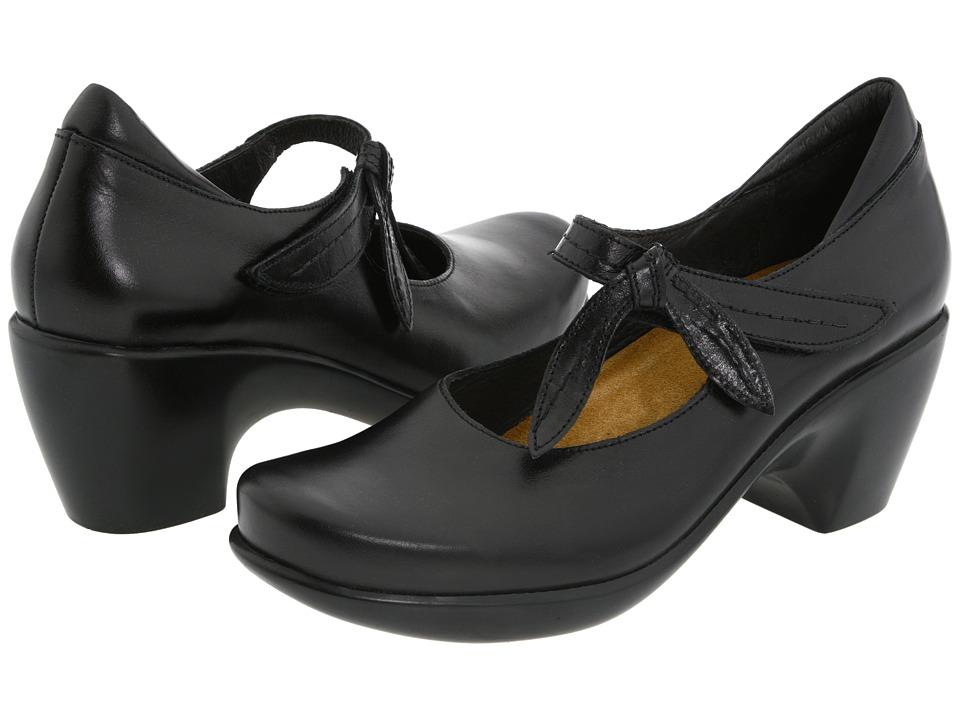 Naot Pleasure (Black Midnight Leather) Maryjanes