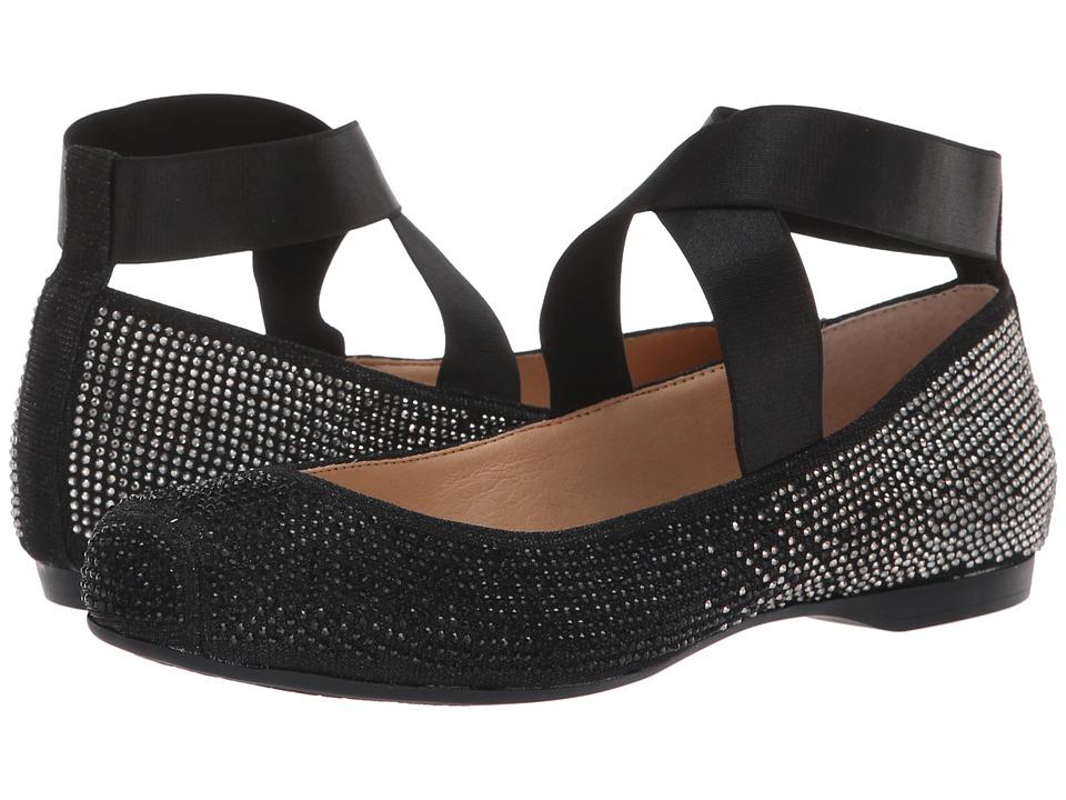 Jessica Simpson Mandalay 5 (Black Glitter Gabor/Satin Elastic) Women's Dress Flat Shoes