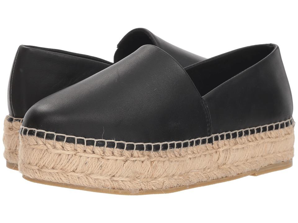Steve Madden Prisila Espadrille Flat (Black Leather) Women's Shoes