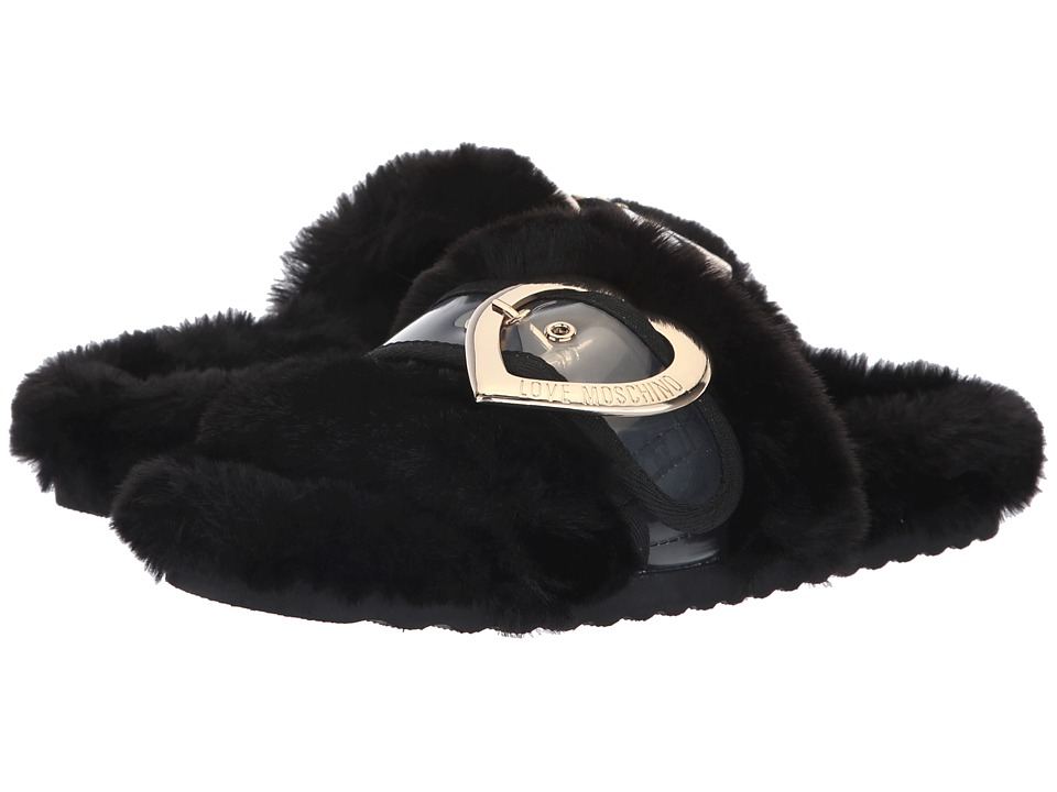 LOVE Moschino Faux Fur Mule (Black) Women's Clog/Mule Shoes