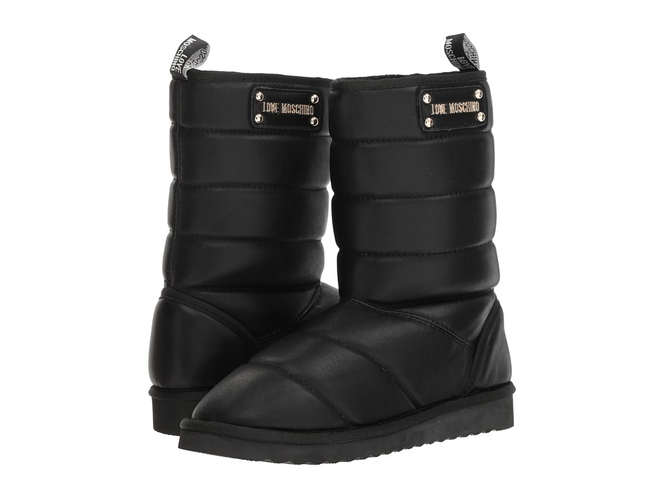 LOVE Moschino Quilted Ankle Boot (Black) Women's Pull-on Boots