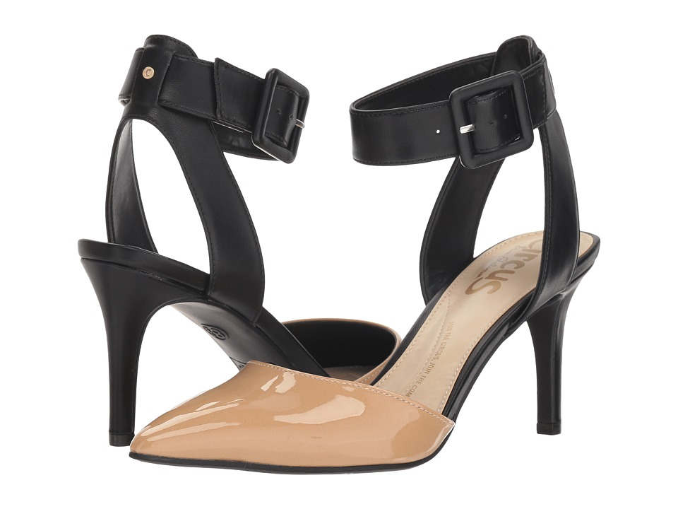 Circus by Sam Edelman Tabitha (Almond/Black Super Soft Patent /Sheep Nappa) Women's Shoes