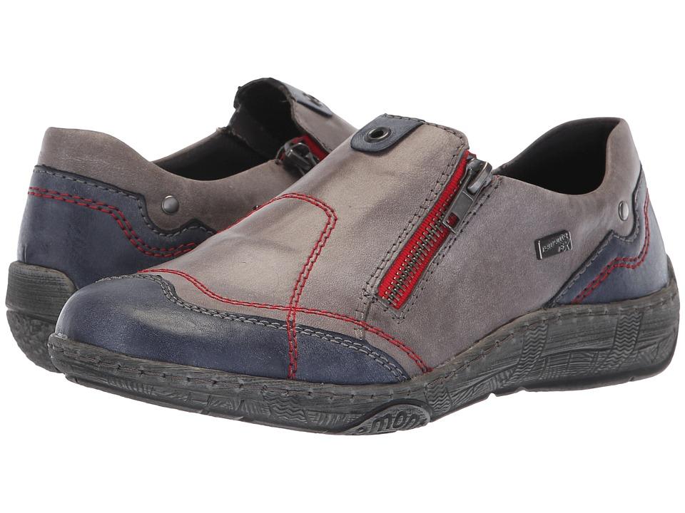 Rieker D3816 Thetkla 16 (Jeans/Negro) Women's Shoes