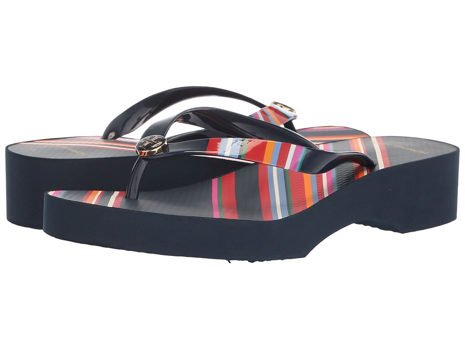 Tory Burch Printed Cut Out Wedge Flip-Flop (Vivid Stripe) Women's Shoes