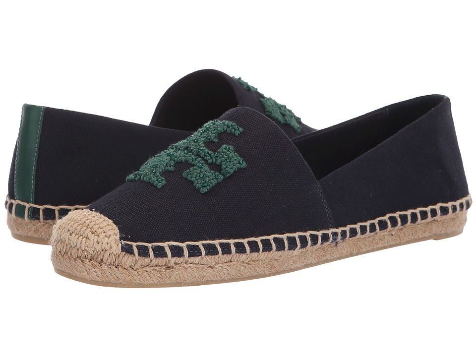 Tory Burch Elisa Logo Flat Espadrille (Perfect Navy) Women's Shoes