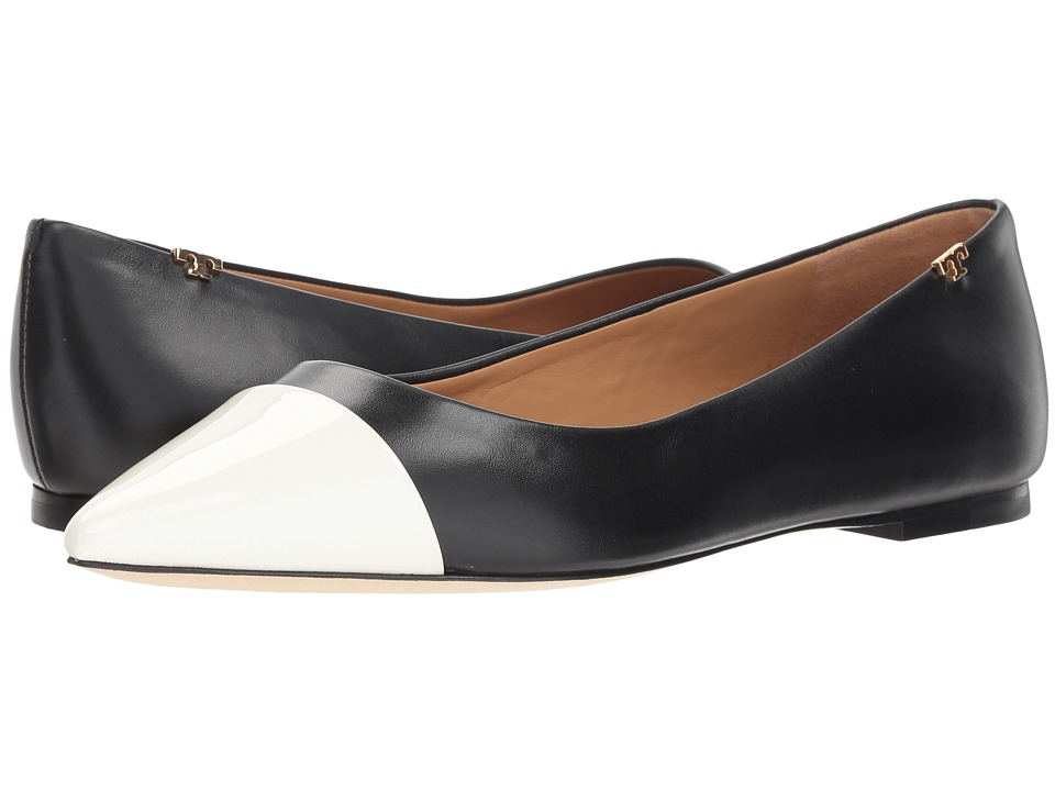 Tory Burch Penelope Cap-Toe Flat (Perfect Black/Italian Ivory) Flats