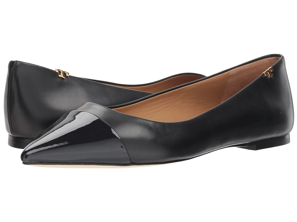 Tory Burch Penelope Cap-Toe Flat (Perfect Black) Flats