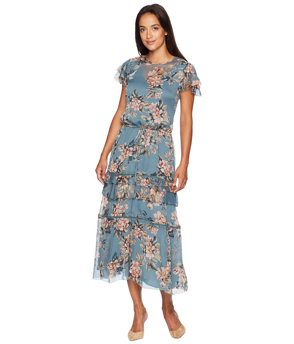 1930s Dresses | 30s Art Deco Dress LAUREN Ralph Lauren Print Georgette Dress Teal Multi Womens Dress $195.00 AT vintagedancer.com