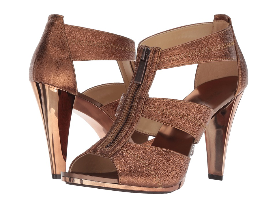 MICHAEL Michael Kors Berkley T-Strap (Bronze Sparkle Metallic) High Heels