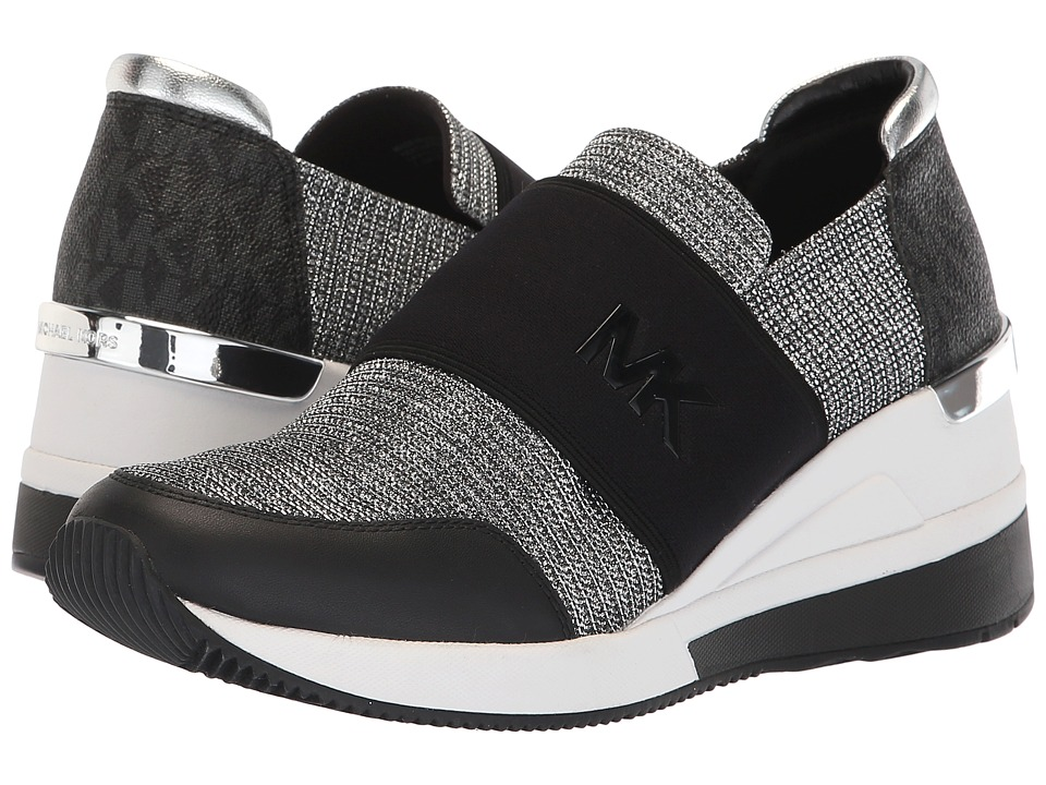 MICHAEL Michael Kors Felix Trainer (Black/Silver Glitter Chain Mesh/Mini MK Logo Semi Lux/Vachetta) Women's Shoes