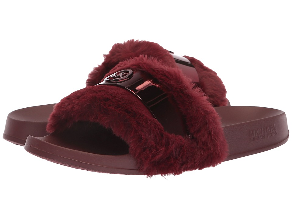 MICHAEL Michael Kors Jett Slide (Oxblood Faux Fur) Women's Shoes