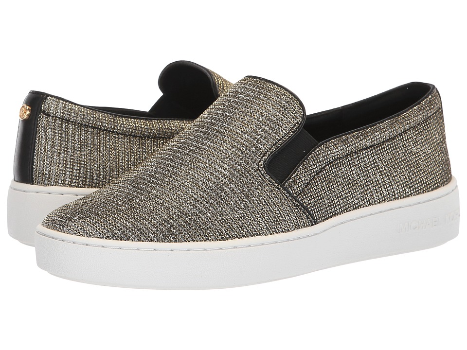 MICHAEL Michael Kors Keaton Slip-On (Black/Gold Glitter Chain Mesh/Mirror Metallic) Slip-On Shoes