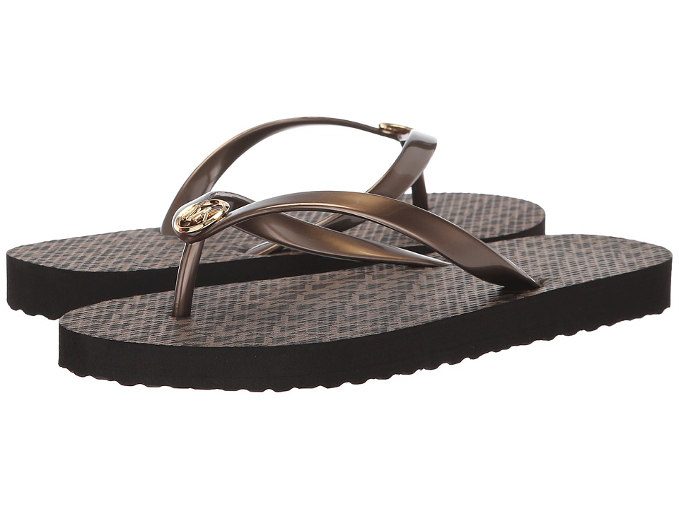 MICHAEL Michael Kors MK Flip Flop (Bronze PVC/Mini Jet Set Print) Sandals