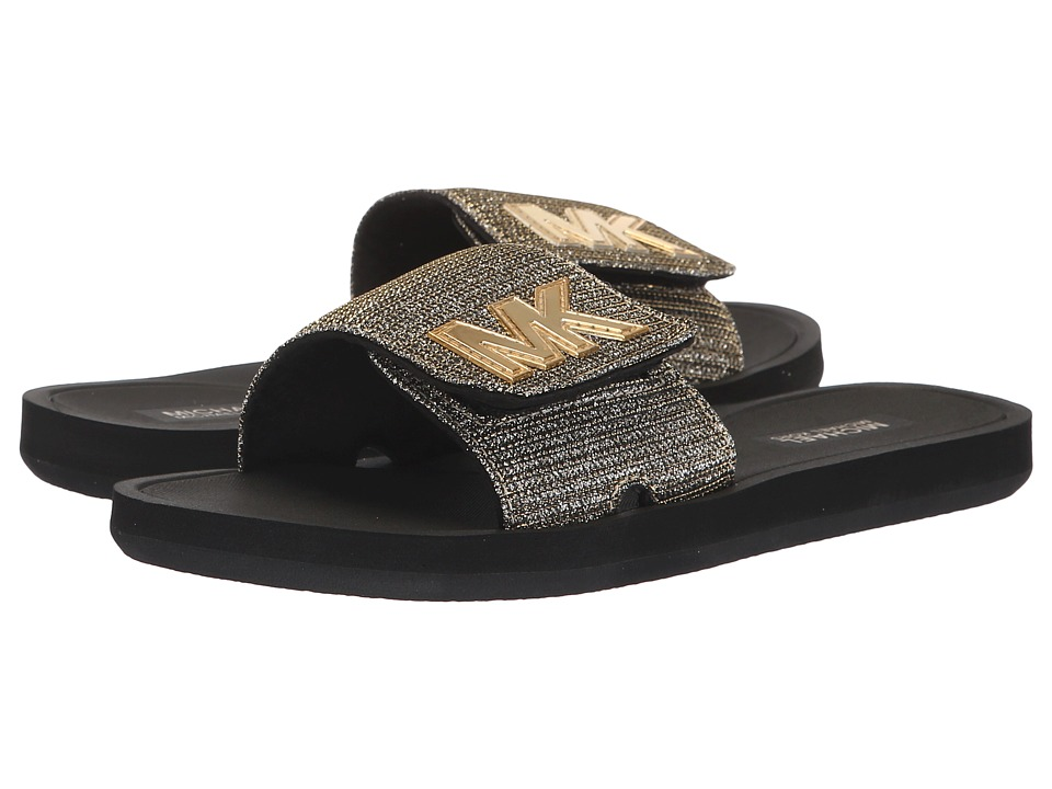 MICHAEL Michael Kors MK Slide (Black/Gold Glitter Chain Mesh) Sandals