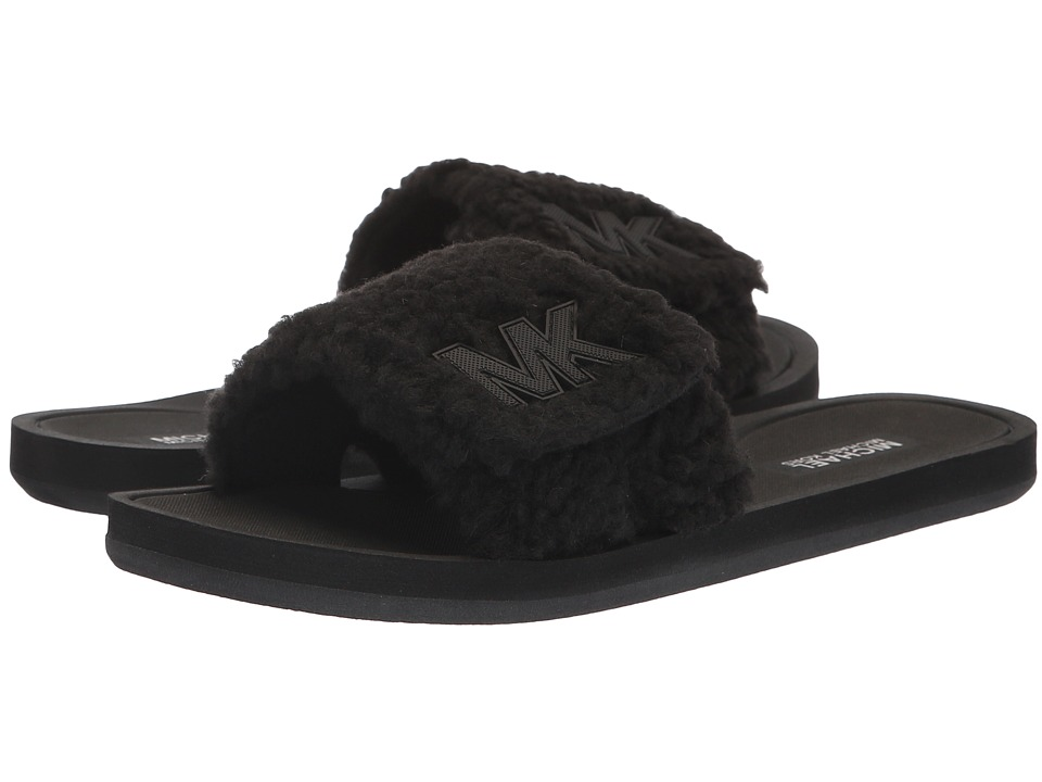MICHAEL Michael Kors MK Slide (Black Faux Curly Shearling) Sandals