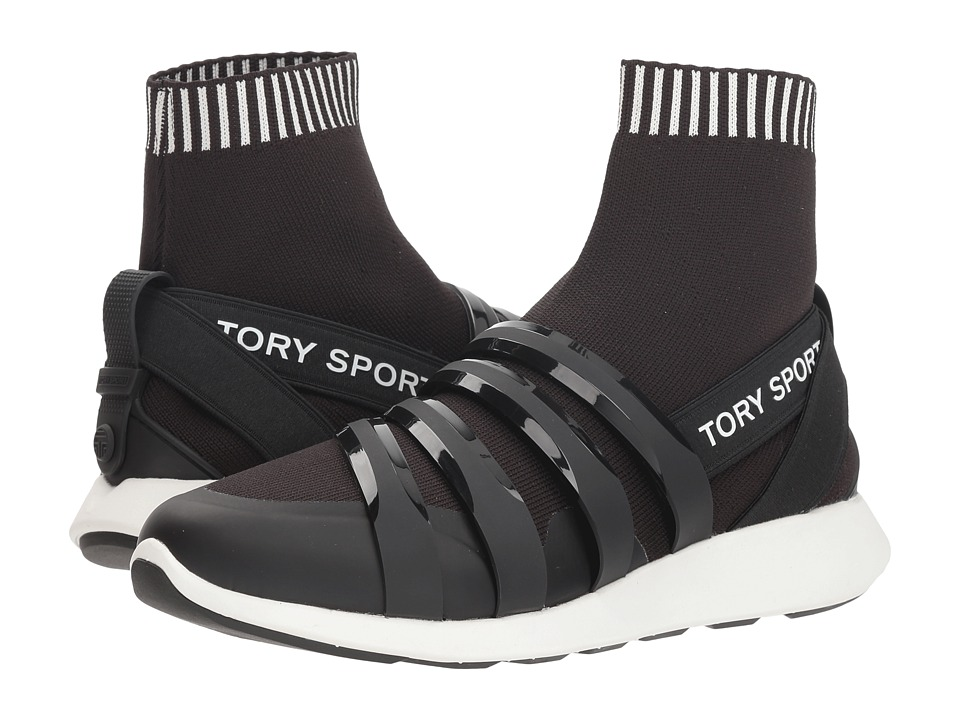 Tory Sport Banner Performance Sock Sneaker (Perfect Black) Women's Shoes