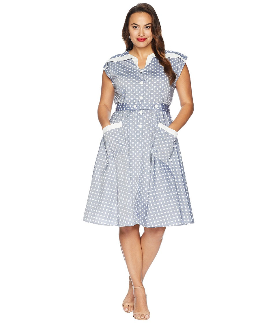 Polka Dot Dresses: 20s, 30s, 40s, 50s, 60s Unique Vintage Plus Size 1950s Cap Sleeve Hedda Swing Dress Light BlueIvory Dotted Womens Dress $118.00 AT vintagedancer.com