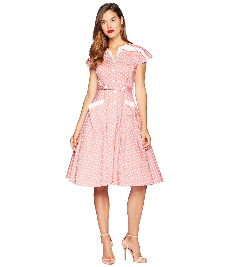 Pin Up Dresses | Pinup Clothing & Fashion Unique Vintage 1950s Cap Sleeve Hedda Swing Dress RedIvory Dotted Womens Dress $118.00 AT vintagedancer.com
