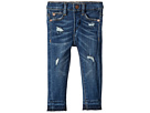 DL1961 Kids Sophie Dark Wash Distressed Skinny with Released Hem Pull-On with Adjustable Waist Band and Snap Button in Miles (Infant)