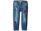 DL1961 Kids Chloe Mid Wash Skinny with Embroidery Adjustable Waist Band and Snap Button in Wannabe (Toddler/Little Kids)