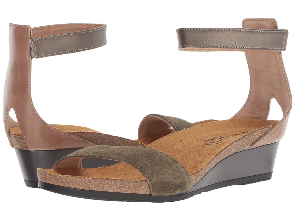 Naot Pixie (Oily Olive Suede/Arizona Tan Leather/Pewter Leather) Sandals