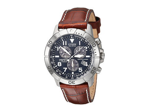 Citizen Watches BL5250-02L Eco-Drive Perpetual Calendar Chronograph Watch - Leather Band/Navy