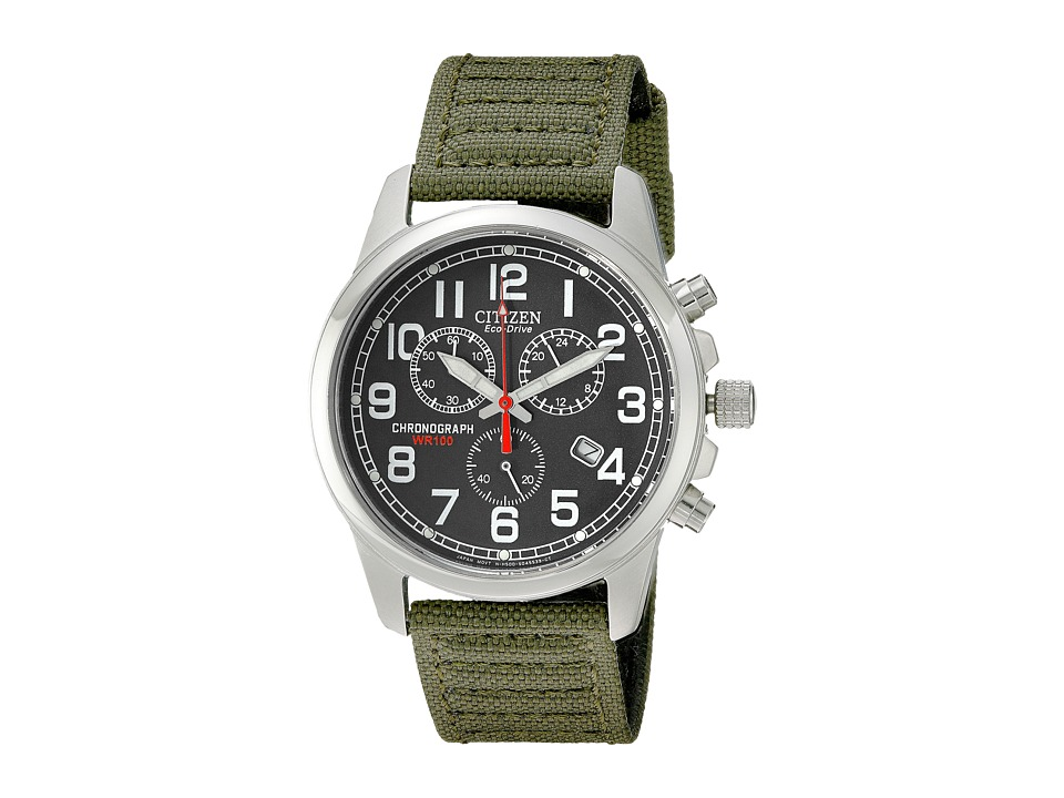 Citizen Watches AT0200-05E Eco-Drive Chronograph Canvas Watch (Army/Black) Dress Watches