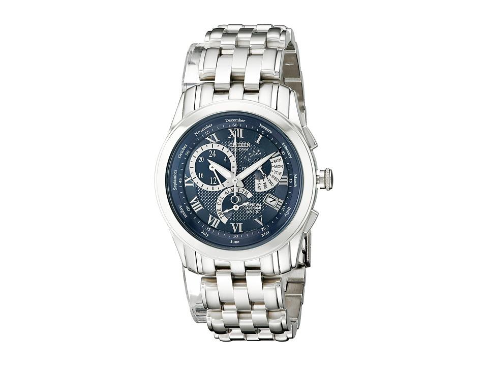 Citizen Watches - BL8000-54L Eco-Drive Calibre 8700 Perpetual Calendar Watch (Silver/Blue) Dress Watches
