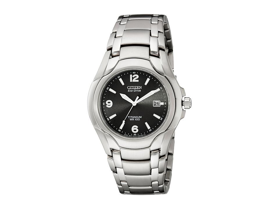 Citizen Watches - BM6060-57F Eco-Drive 180 WR100 Titanium Bracelet Watch (Silver/Black) Dress Watches