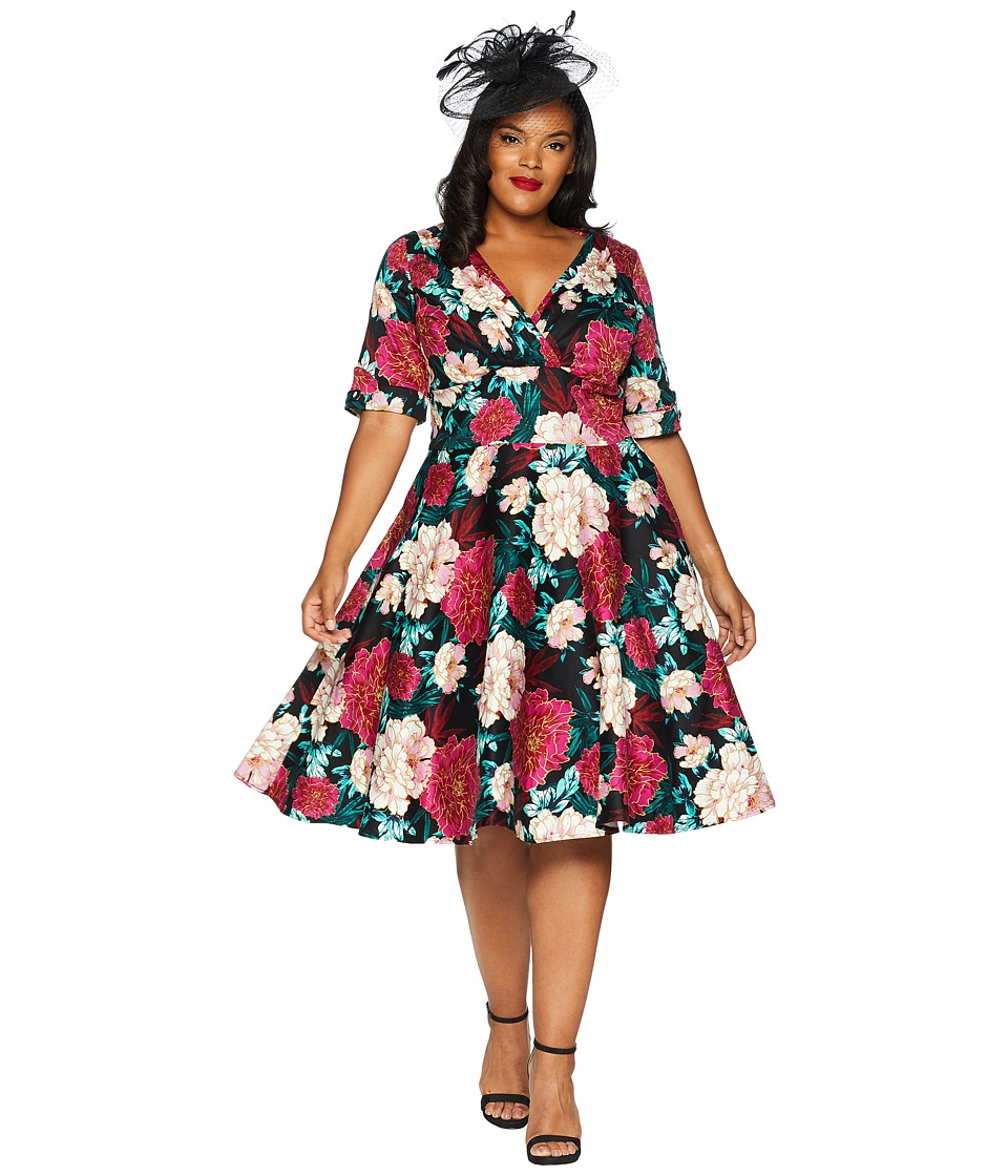 1950s Plus Size Dresses, Clothing and Costumes Unique Vintage Plus Size 1950s Delores Swing Dress with Sleeves BlackPink Carnation Print Womens Dress $98.00 AT vintagedancer.com