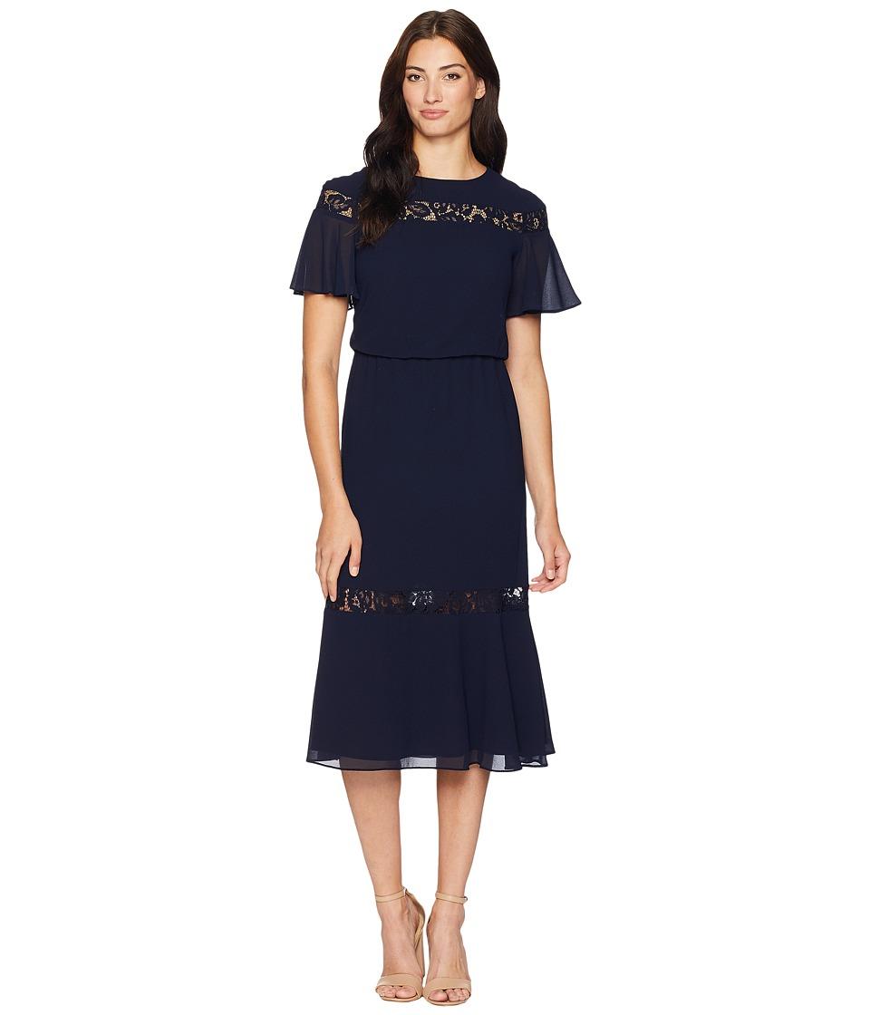 1930s Dresses | 30s Art Deco Dress LAUREN Ralph Lauren Sharma Pebble Chiffon Elbow Sleeve-Day Dress Lighthouse Navy Womens Dress $180.00 AT vintagedancer.com