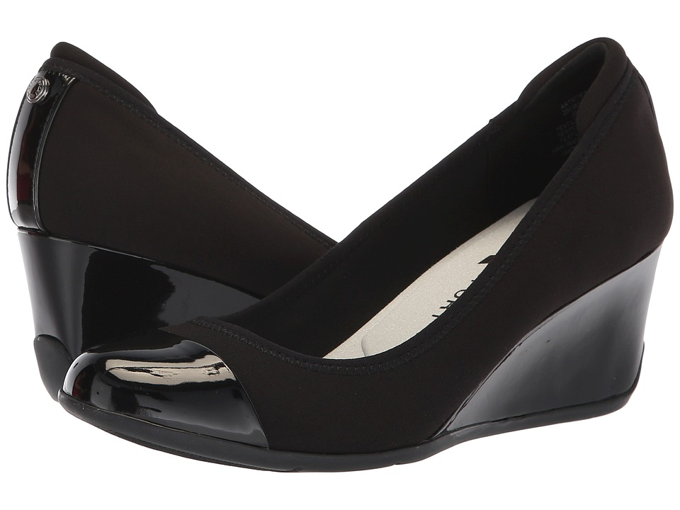 Anne Klein Taite Wedge Heel (Black) Women's Shoes
