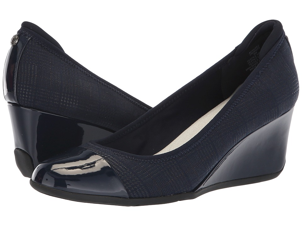Anne Klein Taite Wedge Heel (Navy) Women's Shoes