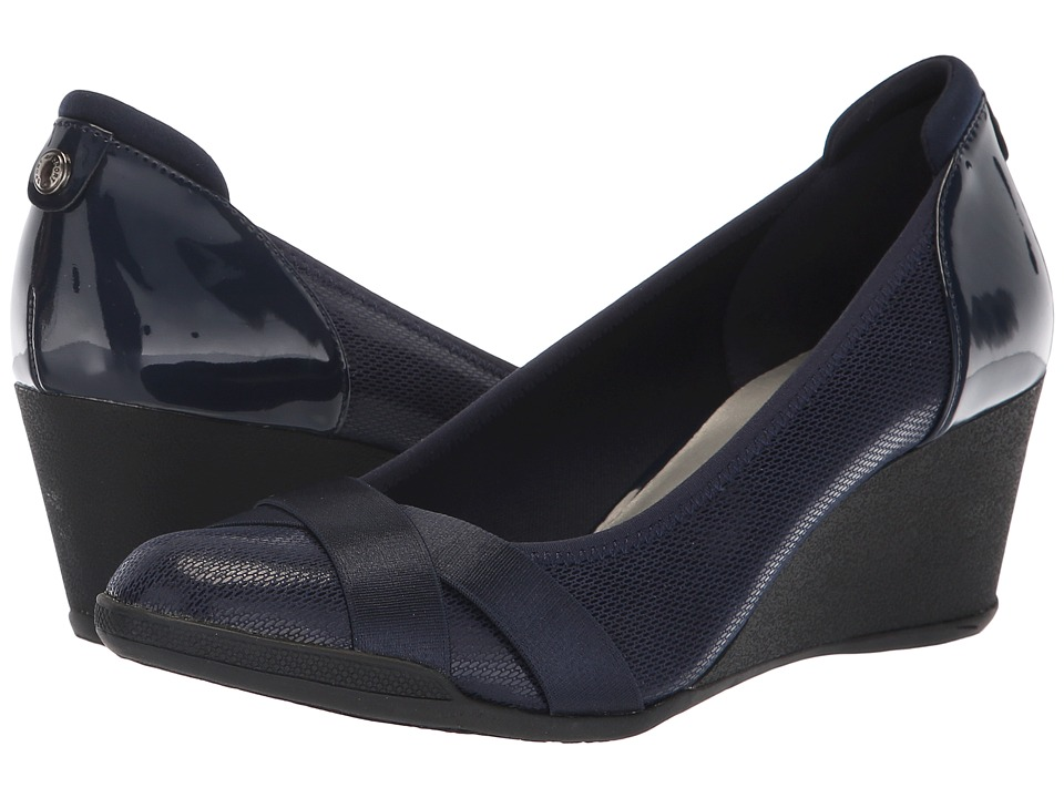 Anne Klein Timeout Wedge Heel (Navy) Women's Shoes