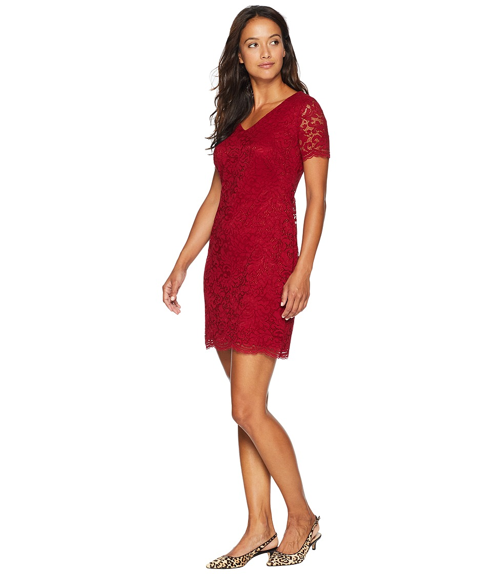 LAUREN Ralph Lauren Petite Panel Lace Gordy Short Sleeve Day Dress (Vibrant Garnet) Women