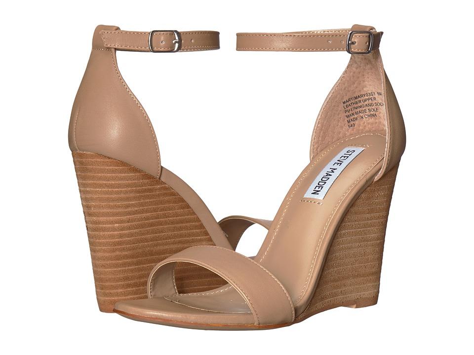 Steve Madden Mary Wedge Sandal (Natural Leather) Sandals