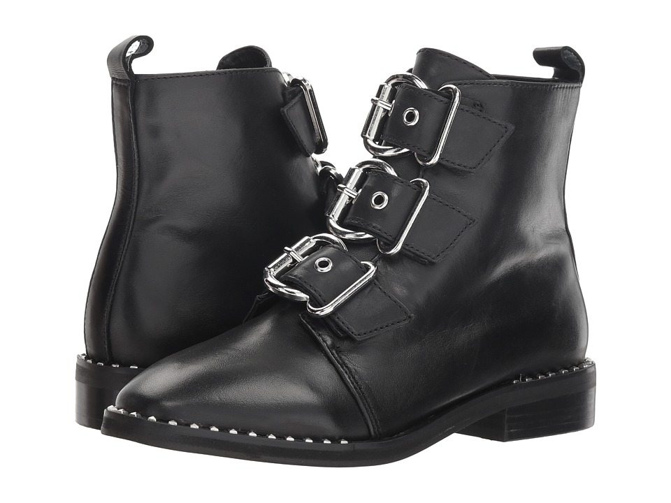 Steve Madden Recharge Moto Bootie (Black Leather)