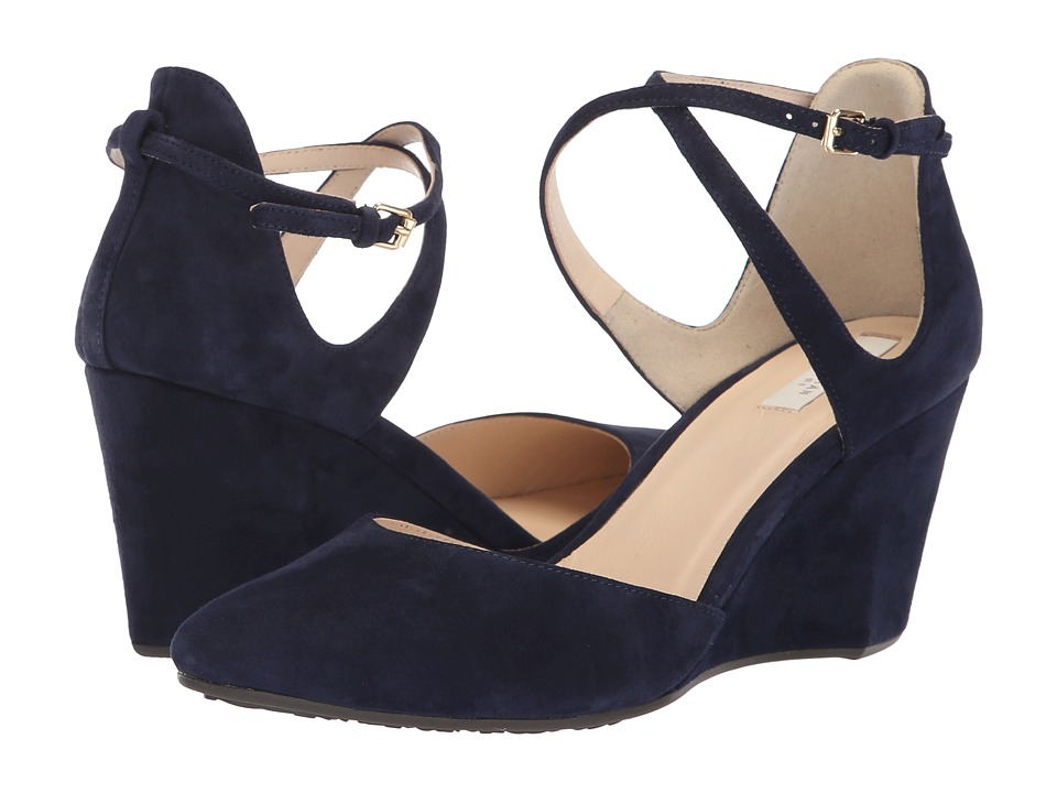 Cole Haan Lacey Wedge Ankle Strap 75mm (Marine Blue Suede) Wedges