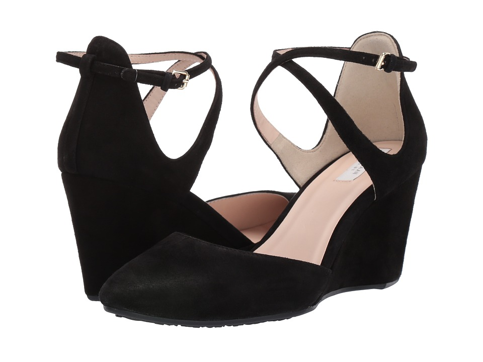 Cole Haan Lacey Wedge Ankle Strap 75mm (Black Suede) Wedges