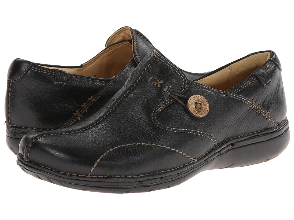 Clarks - Un.loop (Black Leather) Womens Slip on  Shoes