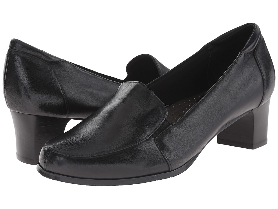 Trotters - Gloria (Black Leather) Women's Slip on  Shoes, wide width