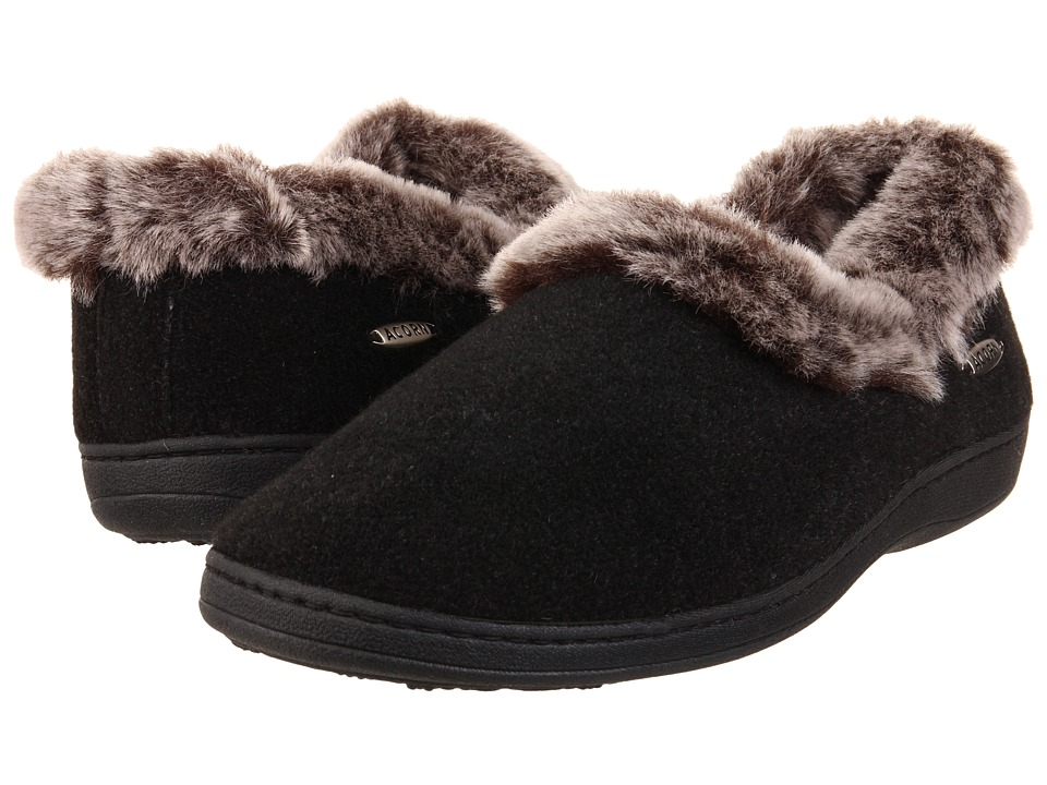 Acorn Faux Chinchilla Collar (Black) Slippers