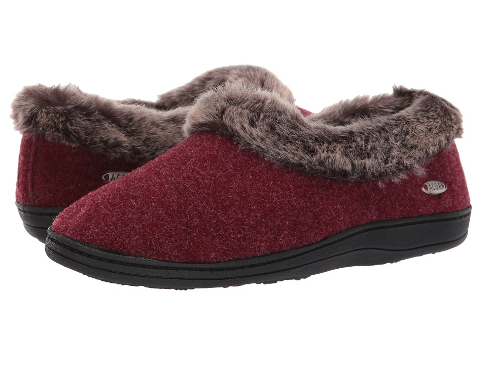 Acorn Faux Chinchilla Collar (Crackleberry) Slippers