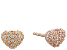 Precious Metal-Plated Sterling Silver Pavé Heart Studs Earrings