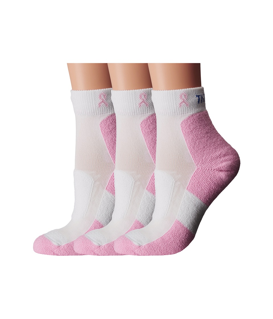 Thorlos Everyday Walker Mini Crew 3 Pair Pack WhitePinkPink Ribbon Womens Quarter Length Socks Shoes