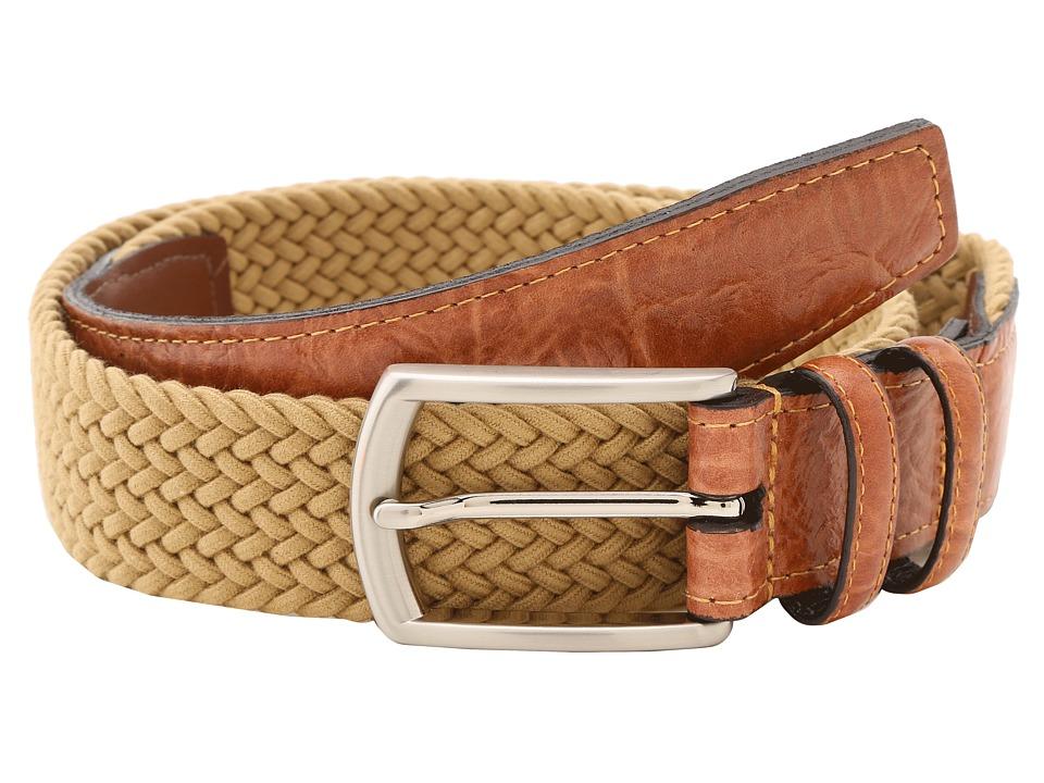 Torino Leather Co. 32MM Italian Woven Multi Cotton Elastic Khaki Mens Belts