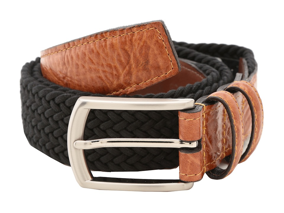 Torino Leather Co. 32MM Italian Woven Multi Cotton Elastic Black Mens Belts