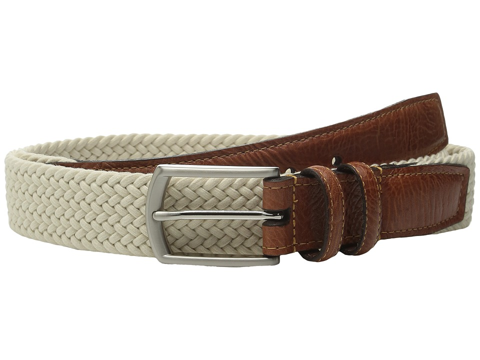 Torino Leather Co. 32MM Italian Woven Multi Cotton Elastic Beige Mens Belts